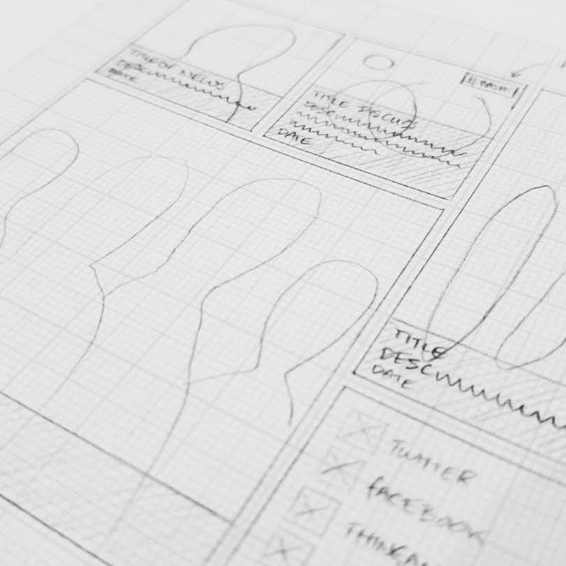news page wireframes