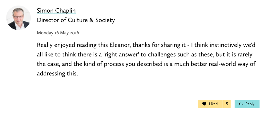 screenshot of a comment from the director of Culture and Society praising the process