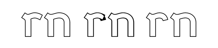 Illustration showing how lowercase 'r' and 'n' were modified to prevent the two glyphs from running together when set next to each other