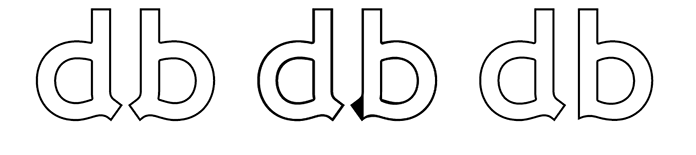 Illustration showing how lowercase 'd' and 'b' were modified to make them more easily distinguishable in Wellcome Bold